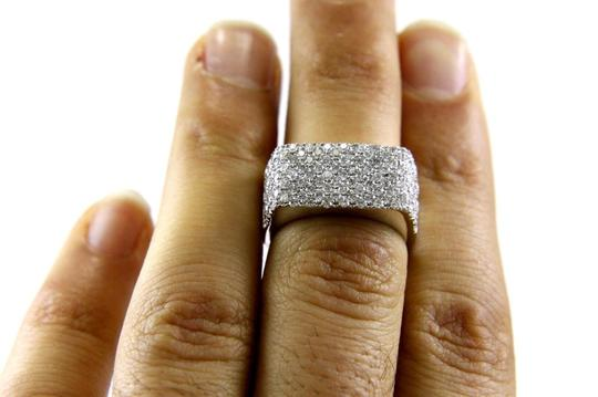 Other Round Diamond Rectangle Cluster Pave Ring Band 14k White Gold 1.71Ct Image 3
