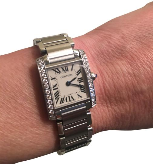 Preload https://img-static.tradesy.com/item/24598678/cartier-stainless-steel-and-diamond-tank-francaise-de-small-model-watch-0-1-540-540.jpg