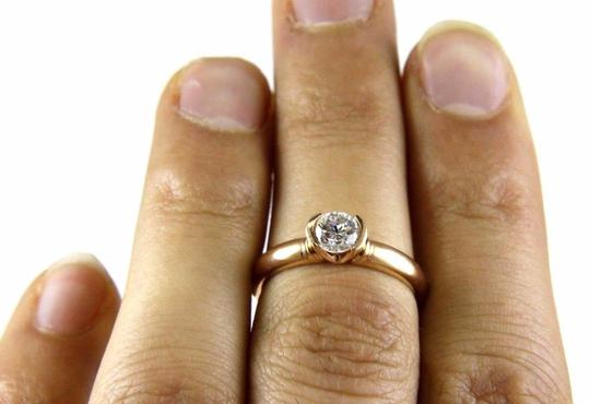 Other Round Cut Diamond Solitaire Lady's Bezel Ring 14k Rose Gold .55Ct Image 1