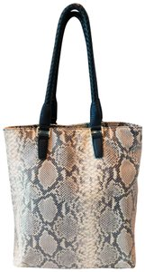 Margot Soft Leather Print Braided Leather Reinforced Handles Chic Design Tote in Gray/Off White/Black Snake