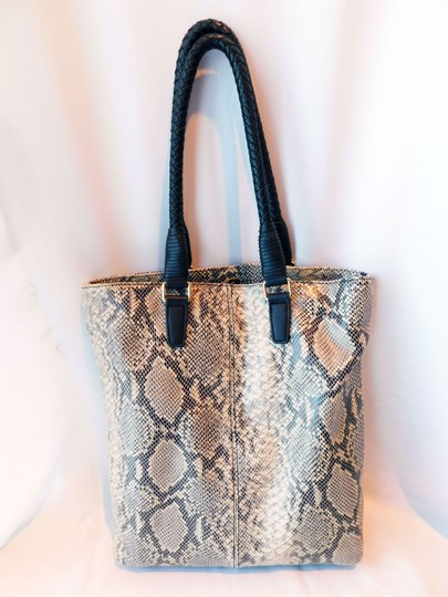 Margot Soft Leather Print Braided Leather Reinforced Handles Chic Design Tote in Gray/Off White/Black Snake Image 2