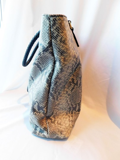 Margot Soft Leather Print Braided Leather Reinforced Handles Chic Design Tote in Gray/Off White/Black Snake Image 3