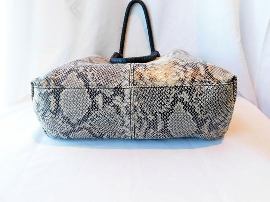 Margot Soft Leather Print Braided Leather Reinforced Handles Chic Design Tote in Gray/Off White/Black Snake Image 6