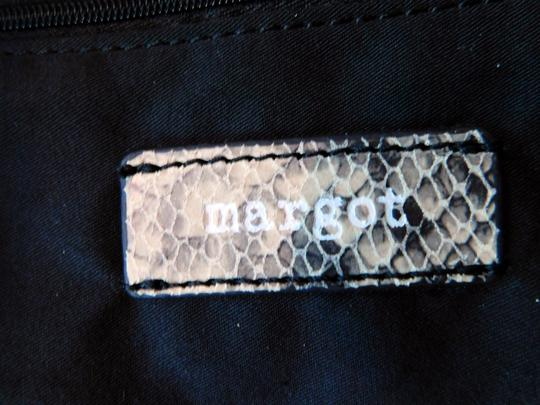 Margot Soft Leather Print Braided Leather Reinforced Handles Chic Design Tote in Gray/Off White/Black Snake Image 7