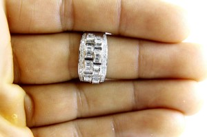 Other Diamond Baguette & Round Cluster Ring Band 14k White Gold 1.05Ct