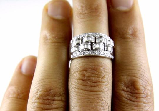 Other Diamond Baguette & Round Cluster Ring Band 14k White Gold 1.05Ct Image 1