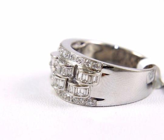 Other Diamond Baguette & Round Cluster Ring Band 14k White Gold 1.05Ct Image 2