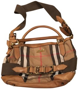 2838775b6ddd Burberry Haymarket Check Brown Coated Tan Black and Red Plaid Leather Canvas  Satchel