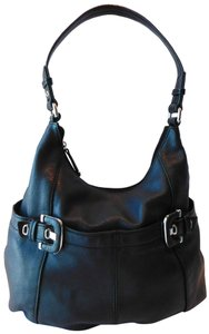 Tignanello Buckles Silver Tone Hardware Pebbled Leather Leather Pull-ties Stud Detailing Shoulder Bag