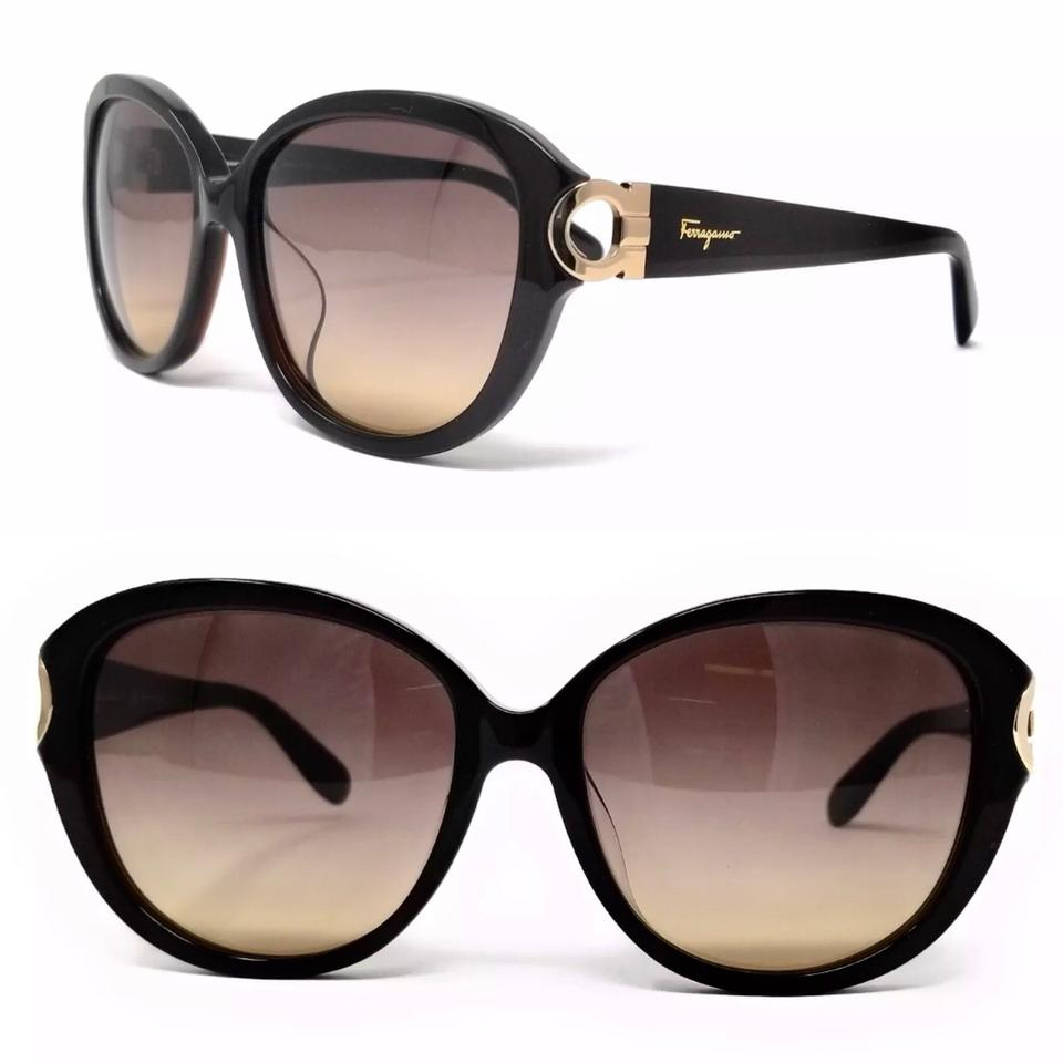 7b104e37a140 Salvatore Ferragamo Black Gold Oval Frame Sf802sa 208 Sunglasses ...