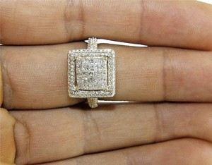 Other Princess Cut Diamond Square Cluster Engagement Ring Band 14k YG 1.75Ct