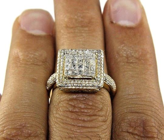 Other Princess Cut Diamond Square Cluster Engagement Ring Band 14k YG 1.75Ct Image 1