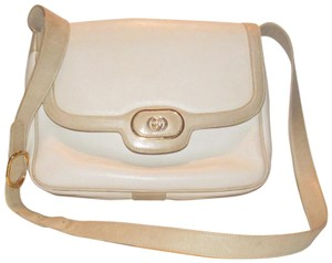 Gucci Early Style Mint Vintage White/Taupe Envelope Saddle Early Shoulder Bag