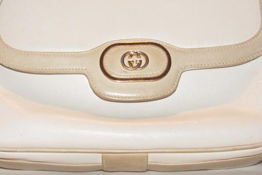 Gucci Early Style Mint Vintage White/Taupe Envelope Saddle Early Shoulder Bag Image 3