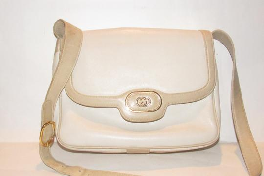Gucci Early Style Mint Vintage White/Taupe Envelope Saddle Early Shoulder Bag Image 4