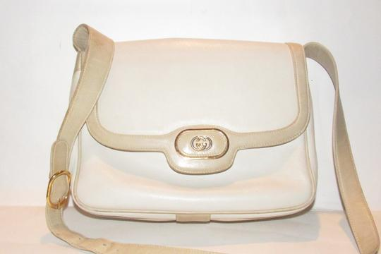 Gucci Early Style Mint Vintage White/Taupe Envelope Saddle Early Shoulder Bag Image 8
