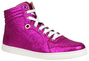 Gucci Women's Metallic Leather Hi Top Hot Pink Athletic
