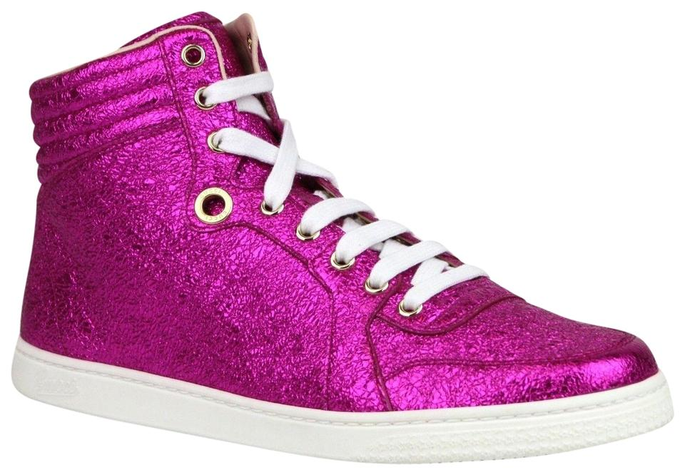 50ee80996f39 Gucci Hot Pink Metallic Leather Hi Top Sneakers It 39.5g Us 10 409793 5600  Sneakers