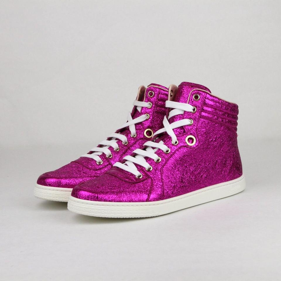 8e0e8f2bc322 Gucci Hot Pink Metallic Leather Hi Top Sneakers It 39.5g Us 10 409793 5600  Sneakers Size EU 39.5 (Approx. US 9.5) Regular (M