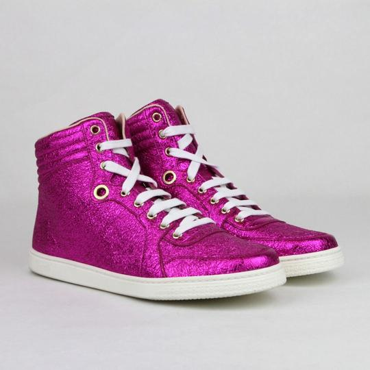 Gucci Women's Metallic Leather Hi Top Hot Pink Athletic Image 3