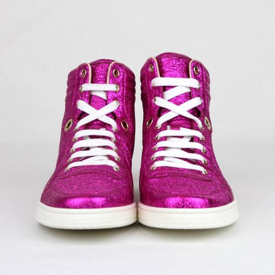 Gucci Women's Metallic Leather Hi Top Hot Pink Athletic Image 2