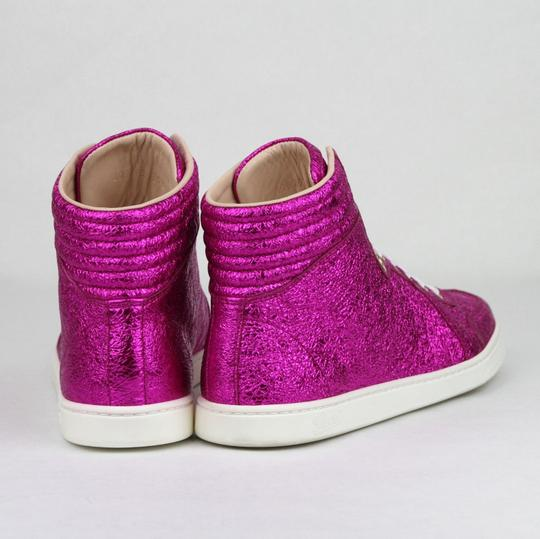 Gucci Women's Metallic Leather Hi Top Hot Pink Athletic Image 4