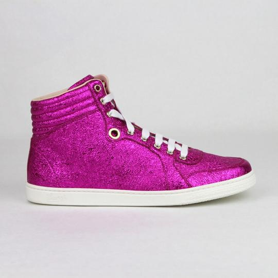 Gucci Women's Metallic Leather Hi Top Hot Pink Athletic Image 5