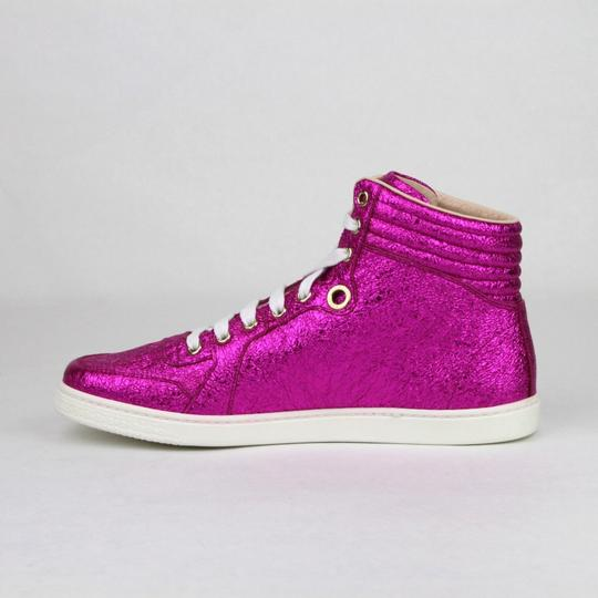 Gucci Women's Metallic Leather Hi Top Hot Pink Athletic Image 6