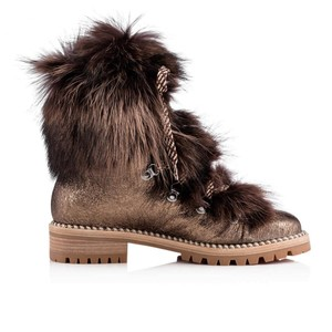 Christian Louboutin Viyonce Shearling Moto Buckled Bronze Brown Boots