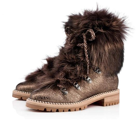 Christian Louboutin Viyonce Shearling Moto Buckled Bronze Brown Boots Image 1