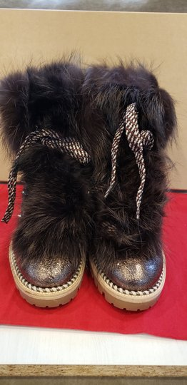 Christian Louboutin Viyonce Shearling Moto Buckled Bronze Brown Boots Image 10