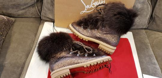 Christian Louboutin Viyonce Shearling Moto Buckled Bronze Brown Boots Image 11