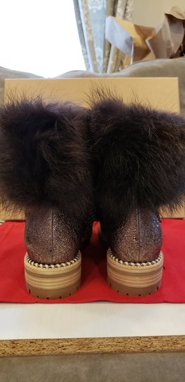 Christian Louboutin Viyonce Shearling Moto Buckled Bronze Brown Boots Image 5