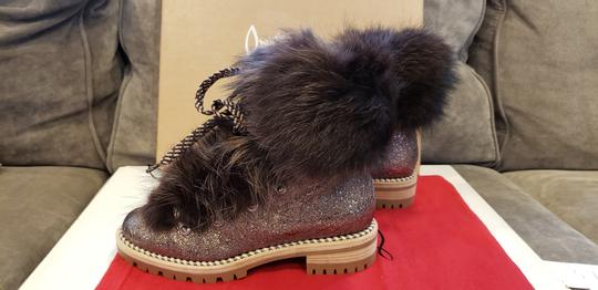 Christian Louboutin Viyonce Shearling Moto Buckled Bronze Brown Boots Image 6