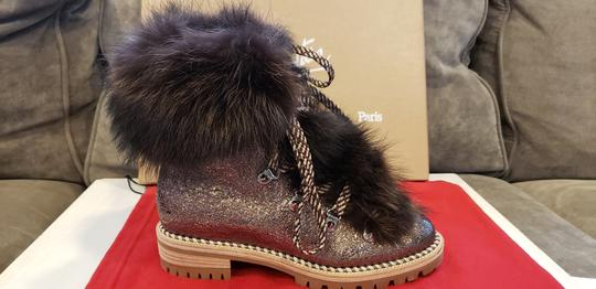 Christian Louboutin Viyonce Shearling Moto Buckled Bronze Brown Boots Image 7