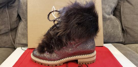 Christian Louboutin Viyonce Shearling Moto Buckled Bronze Brown Boots Image 8