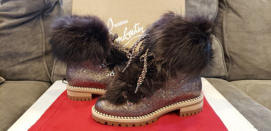 Christian Louboutin Viyonce Shearling Moto Buckled Bronze Brown Boots Image 9