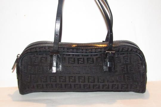 Fendi Mint Condition 'f' Top Handle Satchel in black small F 'Zucchino' logo print canvas and leather with gunmetal hardware Image 1