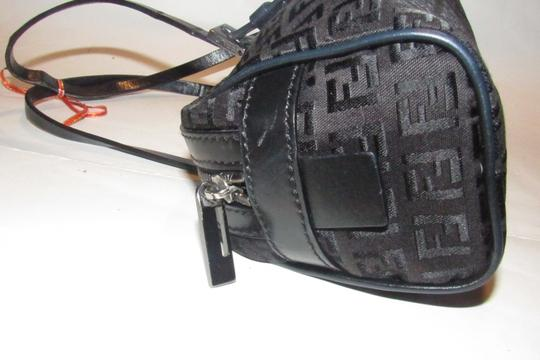 Fendi Mint Condition 'f' Top Handle Satchel in black small F 'Zucchino' logo print canvas and leather with gunmetal hardware Image 11
