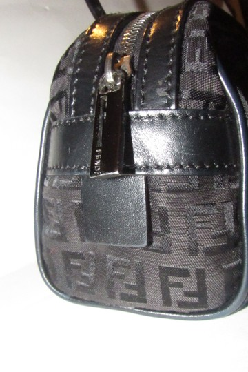 Fendi Mint Condition 'f' Top Handle Satchel in black small F 'Zucchino' logo print canvas and leather with gunmetal hardware Image 3