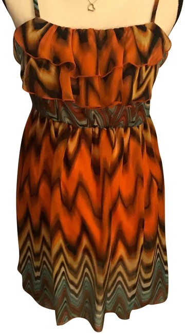 Orange and Black Tie Dye Mid-length Short Casual Dress Size 4 (S) Orange and Black Tie Dye Mid-length Short Casual Dress Size 4 (S) Image 1