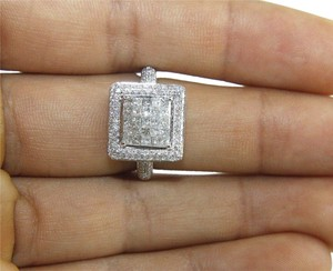 Other Princess Cut Diamond Square Invisible Cluster Ring 14k White Gold 1.74