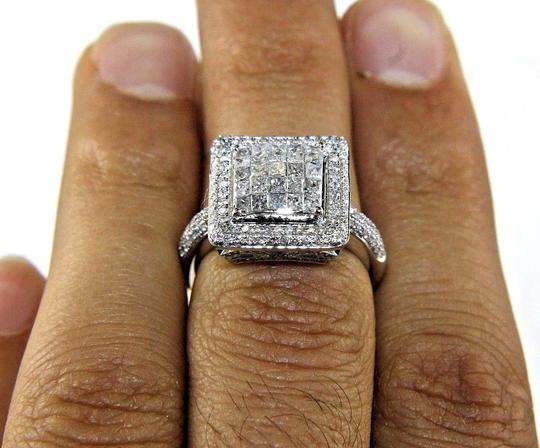Other Princess Cut Diamond Square Invisible Cluster Ring 14k White Gold 1.74 Image 1