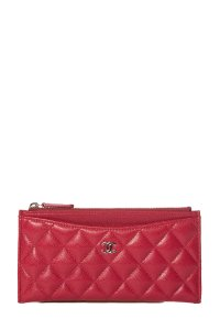 Chanel CHANEL Red Leather Phone Pouch Wallet