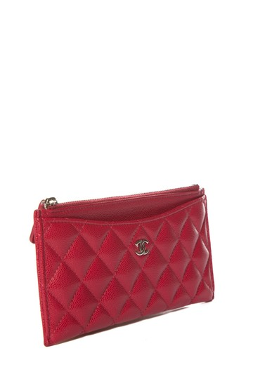 Chanel CHANEL Red Leather Phone Pouch Wallet Image 1