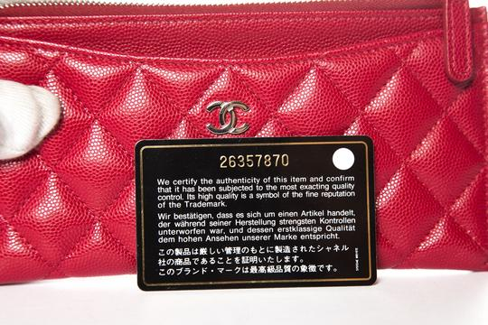 Chanel CHANEL Red Leather Phone Pouch Wallet Image 10