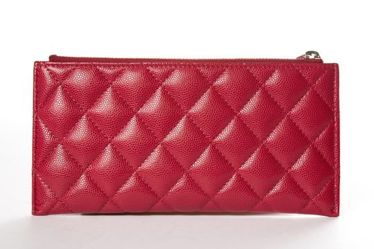 Chanel CHANEL Red Leather Phone Pouch Wallet Image 3