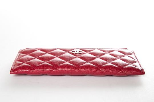 Chanel CHANEL Red Leather Phone Pouch Wallet Image 4