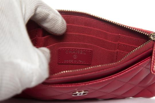 Chanel CHANEL Red Leather Phone Pouch Wallet Image 9