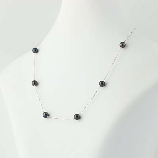 Other Black Freshwater Pearl Necklace - 14k White Gold N3936 Image 2